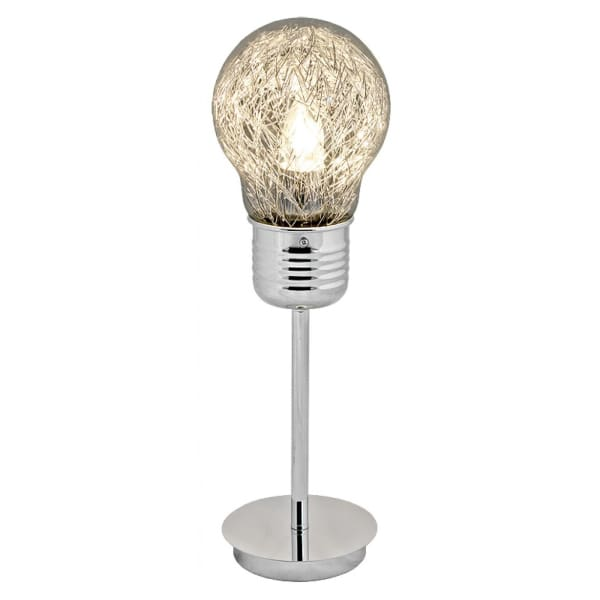 Bulb Shaped Chrome Stem Table Lamp - HOME - Lamp