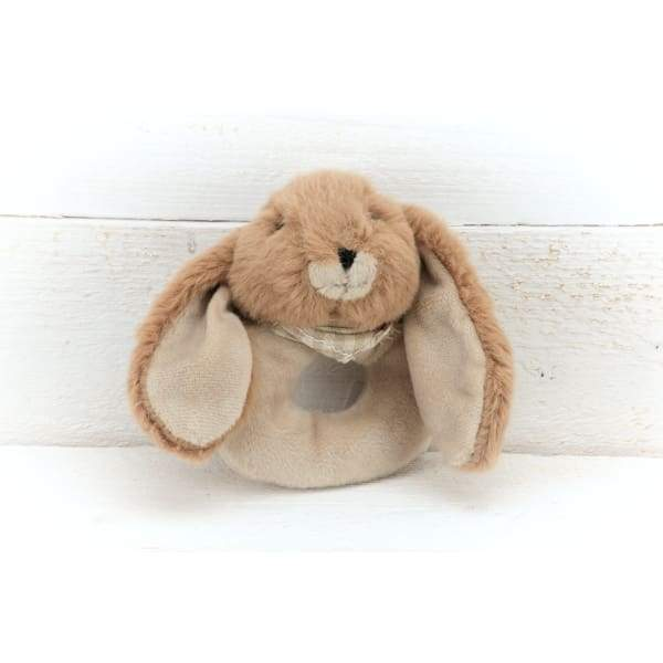 Bunny Baby Rattle In Soft Brown