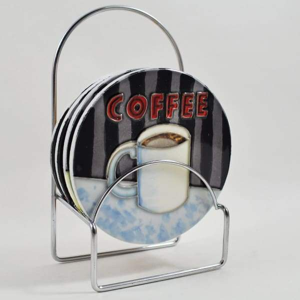 Ceramic Coffee themed Coasters by Anastasia Rici - Set Of 4