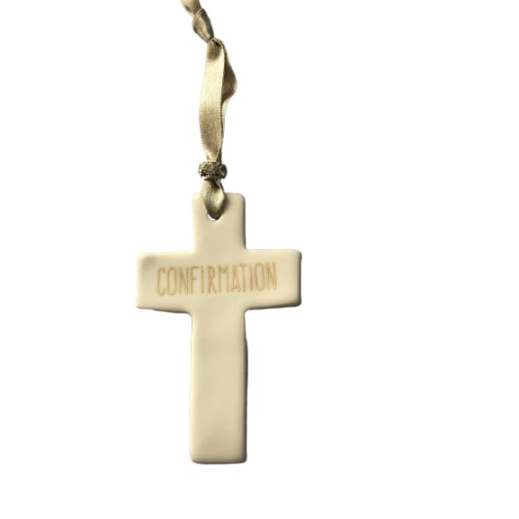 Ceramic Cross Confirmation with Gold ribbon by Dimbleby