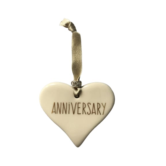 Ceramic Heart Anniversary with Gold ribbon by Dimbleby