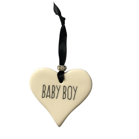 Ceramic Heart Baby Boy with Black ribbon by Dimbleby