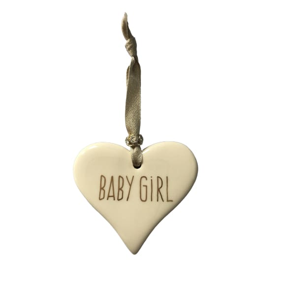 Ceramic Heart Baby Girl with Gold ribbon by Dimbleby