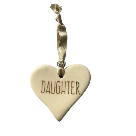 Ceramic Heart Daughter with Gold ribbon by Dimbleby