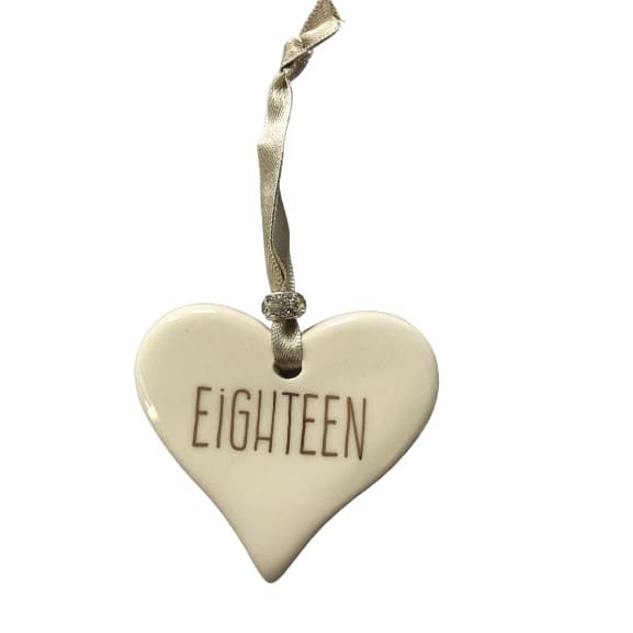 Ceramic Heart Eighteen with Gold ribbon by Dimbleby