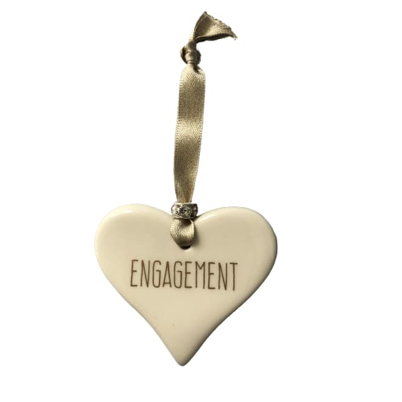 Ceramic Heart Engagement with Gold ribbon by Dimbleby