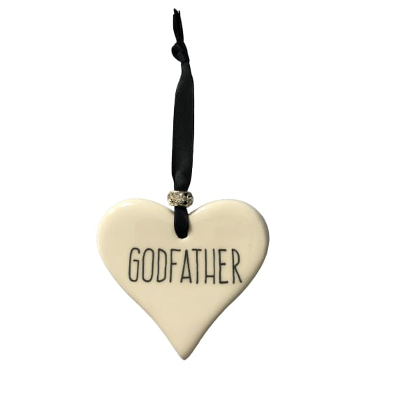 Ceramic Heart Godfather with Black ribbon by Dimbleby