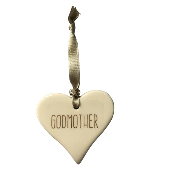 Ceramic Heart Godmother with Gold ribbon by Dimbleby