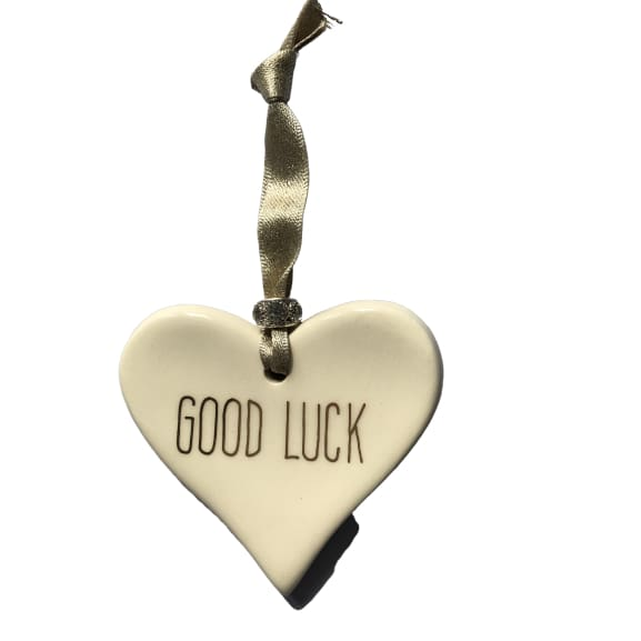 Ceramic Heart Good Luck with Gold ribbon by Dimbleby