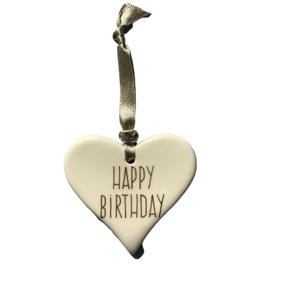 Ceramic Heart Happy Birthday with Gold ribbon by Dimbleby