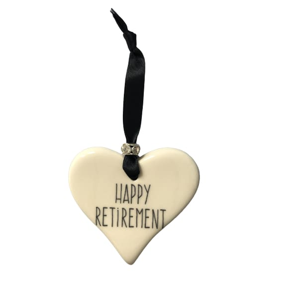 Ceramic Heart Happy Retirement with Black ribbon by Dimbleby