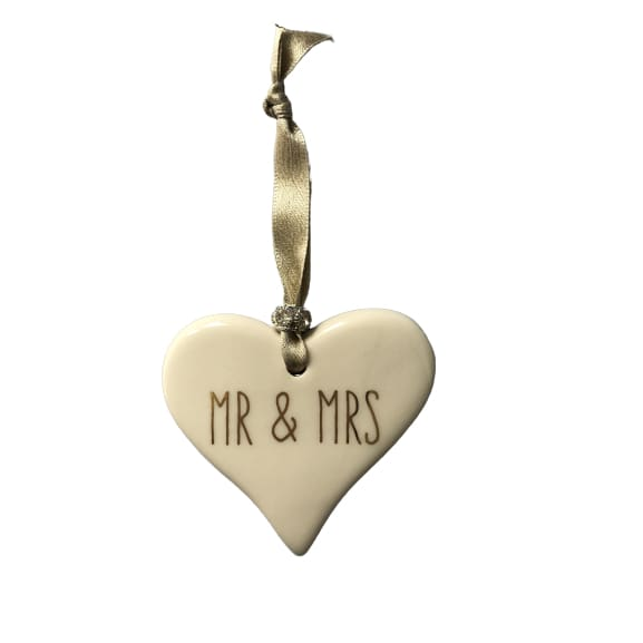 Ceramic Heart Mr & Mrs with Gold ribbon by Dimbleby