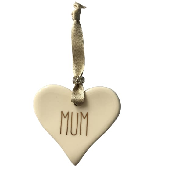 Ceramic Heart Mum with Gold ribbon by Dimbleby