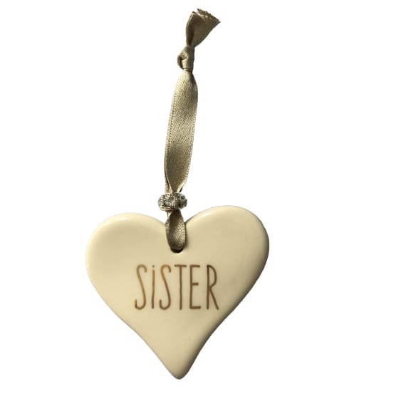 Ceramic Heart Sister with Gold ribbon by Dimbleby