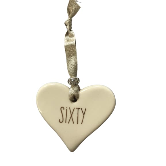 Ceramic Heart Sixty with Gold ribbon by Dimbleby