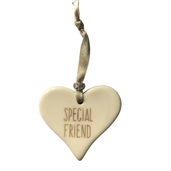 Ceramic Heart Special Friend with Gold ribbon by Dimbleby