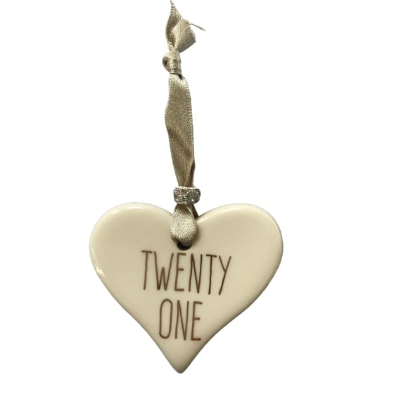 Ceramic Heart Twenty One with Gold ribbon by Dimbleby