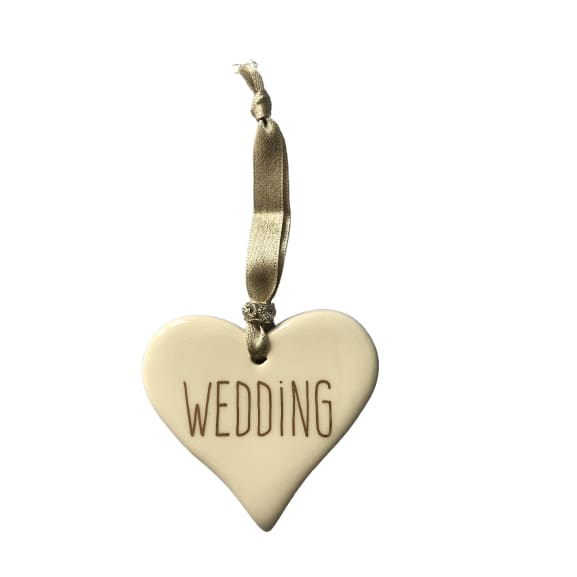 Ceramic Heart Wedding with Gold ribbon by Dimbleby