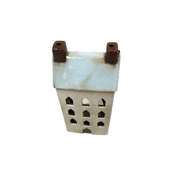 Ceramic House Lantern Aqua - Small
