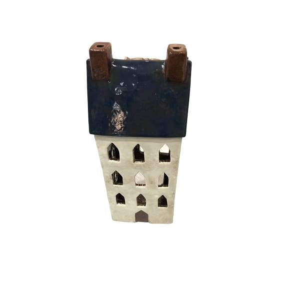 Ceramic House Lantern Blue - Large