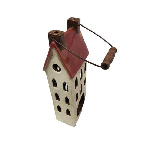 Ceramic House Lantern Red - Large