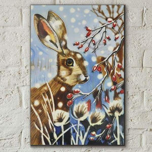 "Ceramic Tile Art - Winter Hare By Judith Yates 8""x12"""