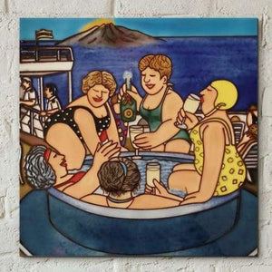 "Ceramic Tile - Cruising 2 by Beryl Cook (8x8"")"