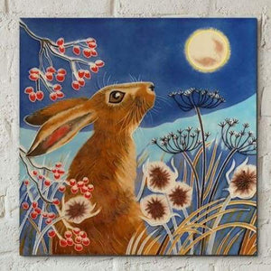 Ceramic Tile - Frost Moon Hare by Judith Yates 8x8""