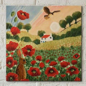 Ceramic Tile - Poppy Meadow Sunset by Kay Grant 8 x 8""