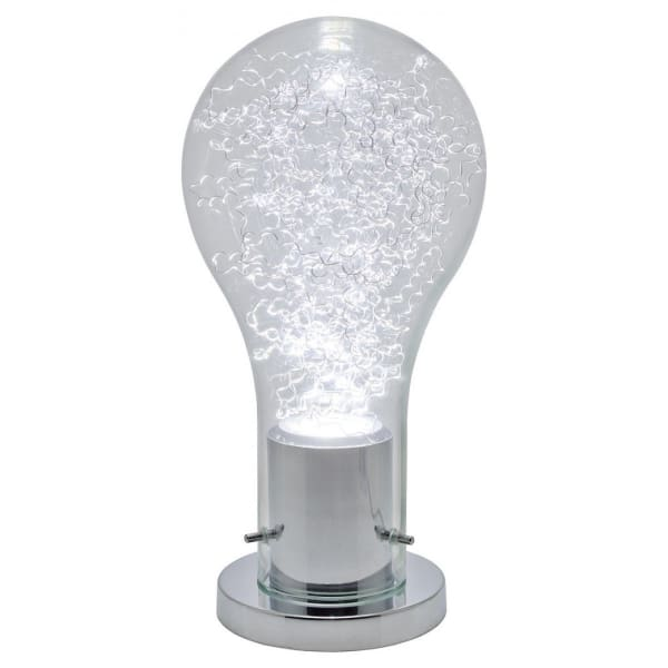 Chrome Glass Bulb Shade Table Lamp