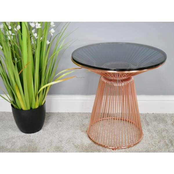 Copper Finish Steel Frame & Circular Glass Top Side Table Please contact the store for Shipping Cost