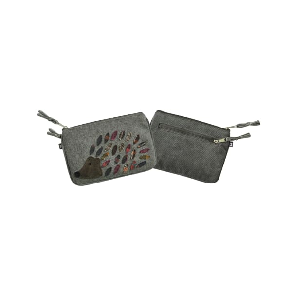 Earthsquared Applique Juliet Purse - Hedgehog On Grey