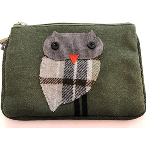 Earthsquared Fairtrade Applique Juliet Purse With Owl on Green