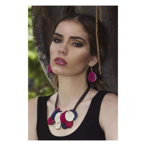Escama Handmade Earrings in Fuschia