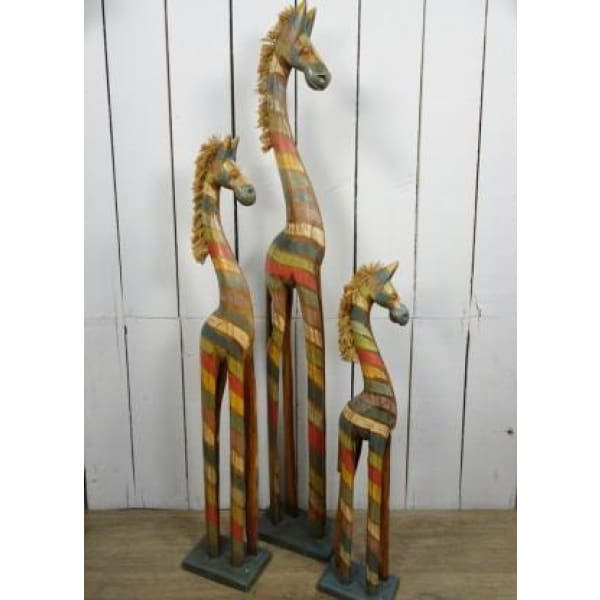 Fairtrade Antique Rainbow Striped Wooden Zebra - 100cm Tall