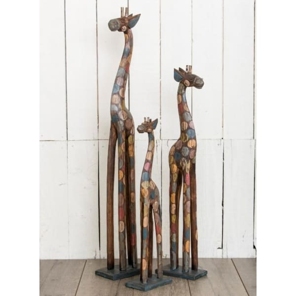 Fairtrade Rainbow Spotted Wooden Giraffe - Small (60cm)