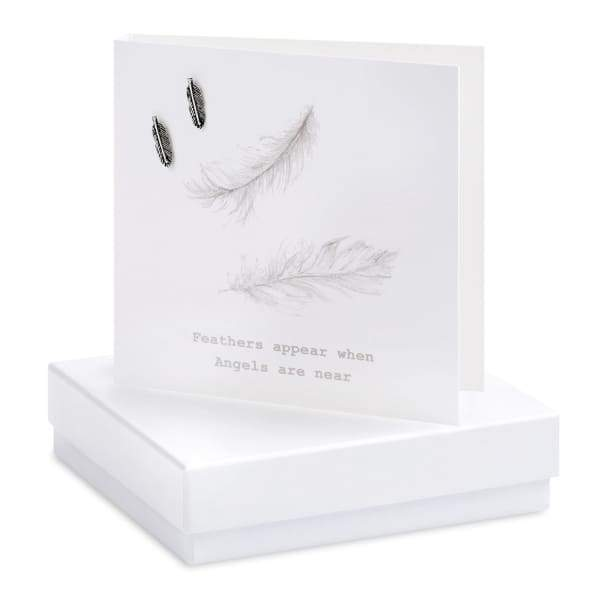 Feather Silver Earrings On Designer Card - Jewellery - Earrings