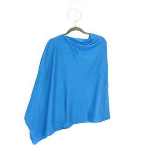 Fine knit cotton poncho in azure blue by Peace of Mind