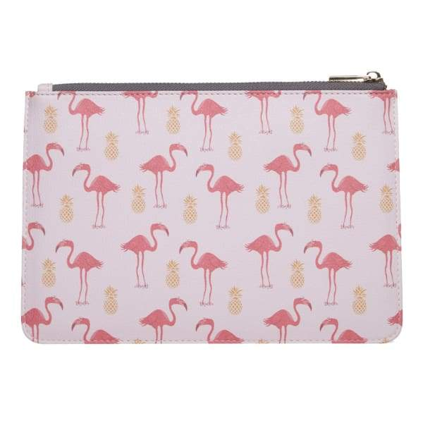 Flamingo & Pineapple Vegan Leather Pouch