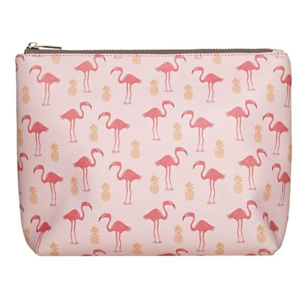 Flamingo & Pineapple Vegan Leather Wash Bag