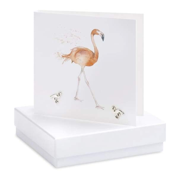 Flamingo Silver Earrings On Designer Card - Jewellery - Earrings