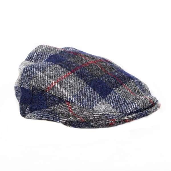 Flat Cap - Blue Check Harris Tweed