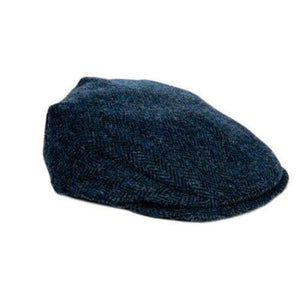 Flat Cap - Blue Herringbone Harris Tweed