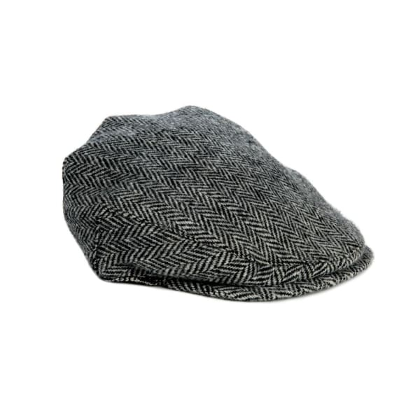 Flat Cap - White Herringbone Harris Tweed