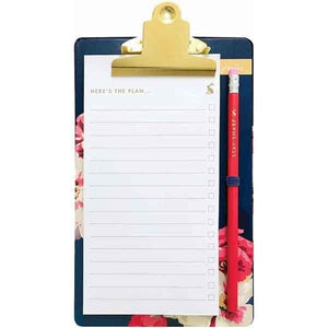 Floral Print Clipboard Notebook and Pencil Set by Joules