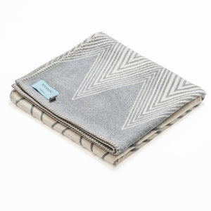 Grey Chevron Recycled Cotton Blanket - 160cm x 100cm - Home - Blanket
