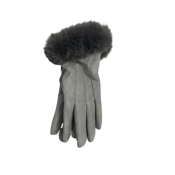 Grey Glove with faux fur trim by Peace of Mind