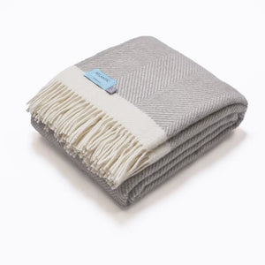 Grey Herringbone 100% Wool Blanket Throw - 150 x 130cm