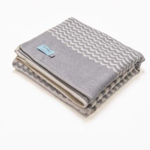 Grey Sea Swell Recycled Cotton Blanket/Throw - 160cm x 100cm