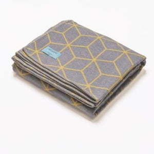 Grey Cotton Blanket Throw With Yellow Line Geometric Pattern - 160cm x 100cm